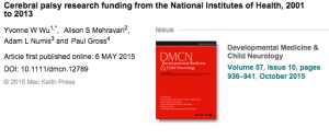 Cerebral palsy research funding from NIH